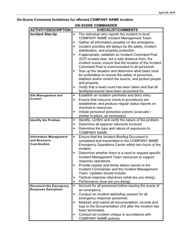 Incident Action Plan  Resume Template Sample
