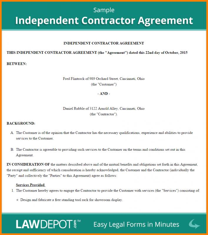 independent contractor agreement template