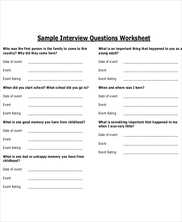 Interview Questions Template Shatterlion Info