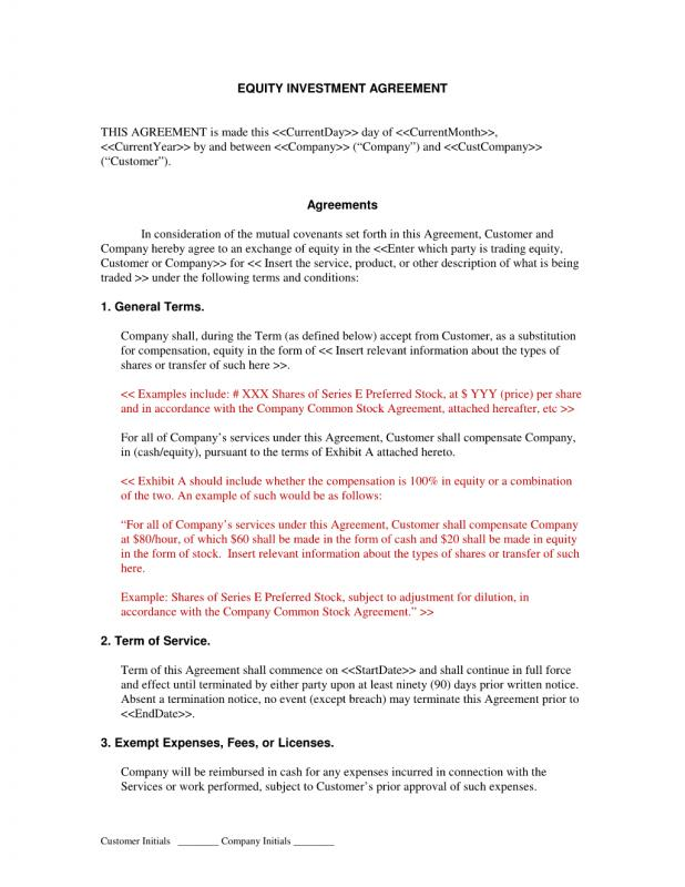 Investment Agreement Template | shatterlion.info
