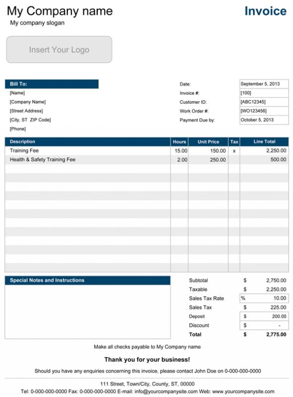 invoice template mac
