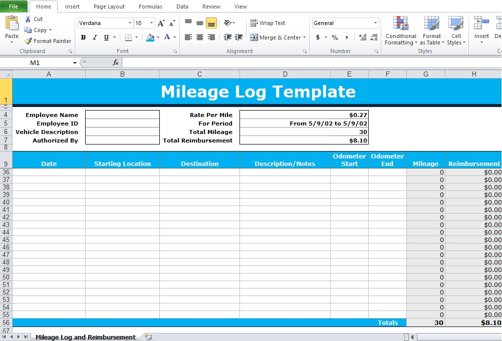 irs mileage log template