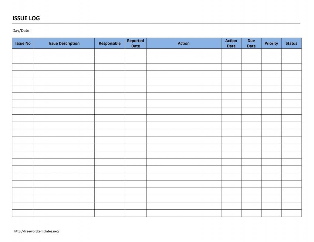 Issue log template for Project management issues log template