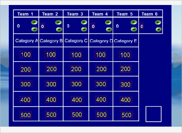 Jeopardy powerpoint template 6 categories for Kids jeopardy template