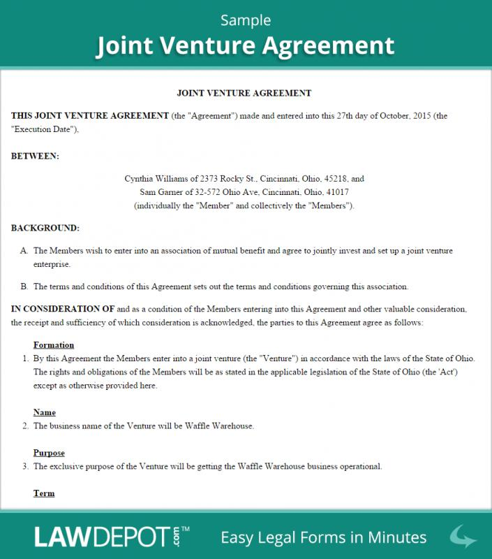 Joint Venture Agreement Template  ShatterlionInfo