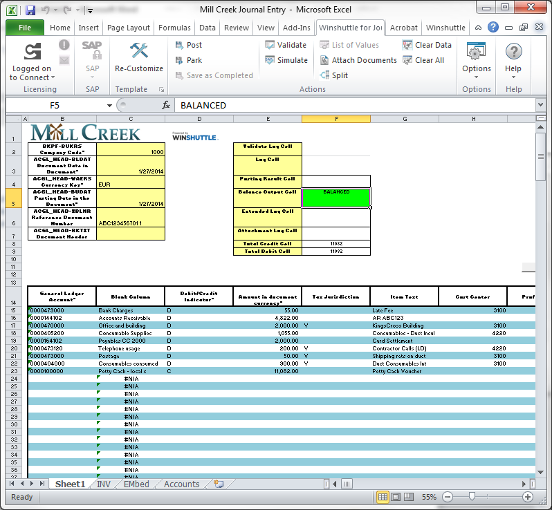 journal entry template excel