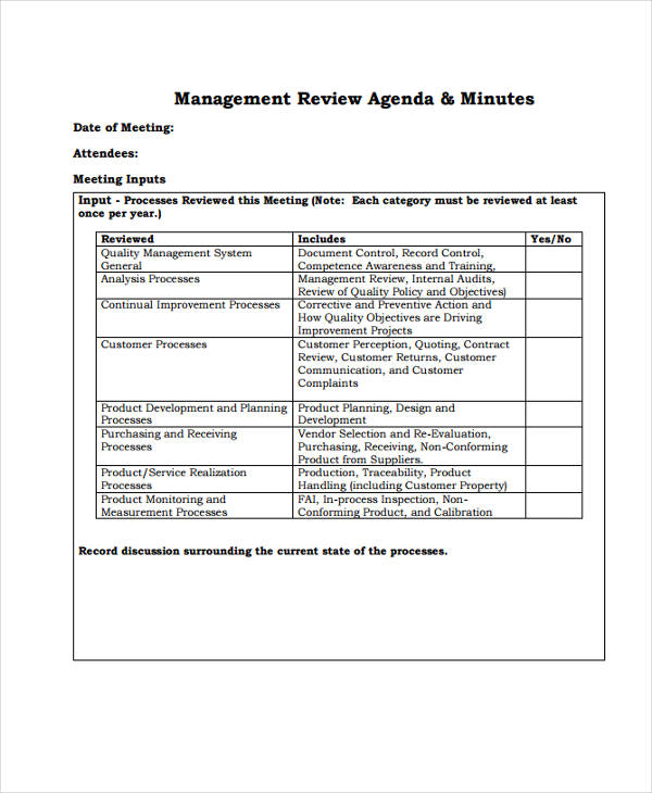 management review template