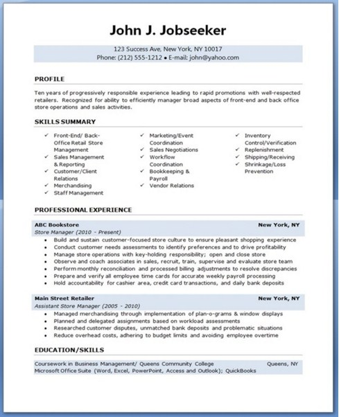 manager resume template