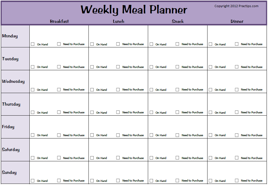 weekly meal planner template with snacks lovely meal planner