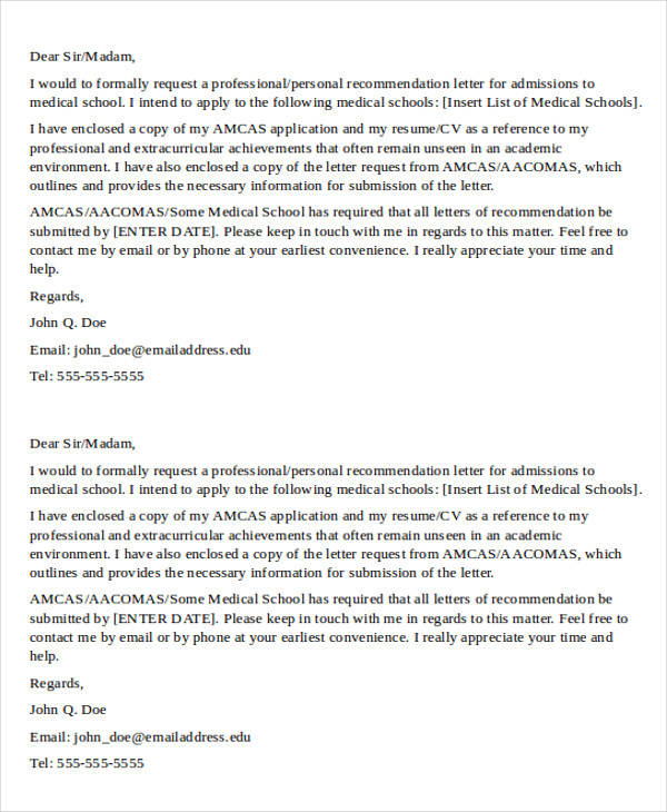 medical school letter of recommendation template