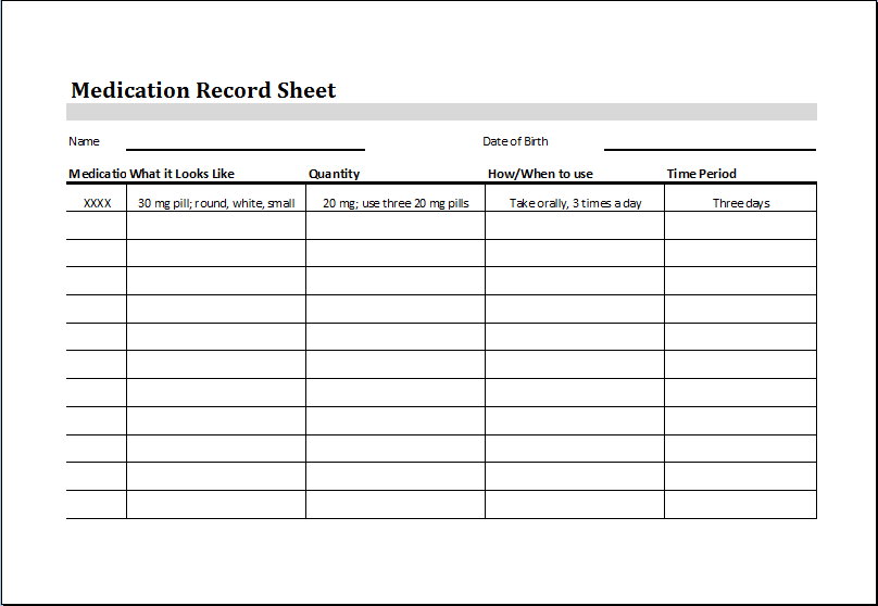 Medication administration record template for Mar template nursing