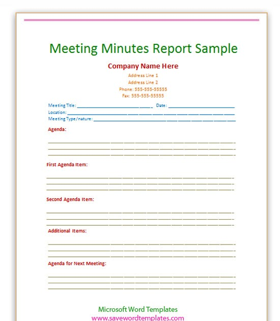 meeting minutes template word