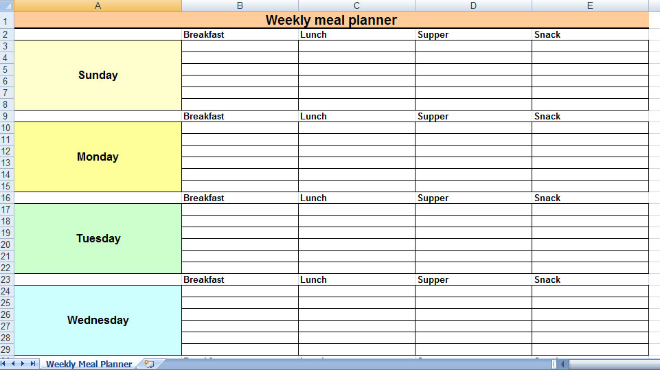 Meeting planner template for Weekly meeting calendar template