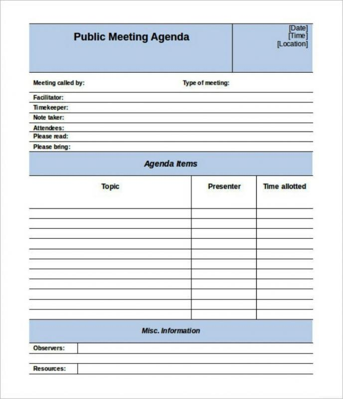 meeting schedule template