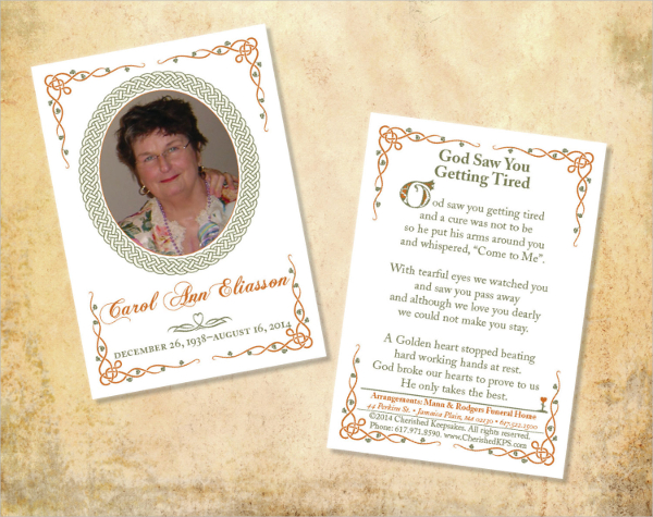 Memorial cards for funeral template free for Funeral memory cards free templates