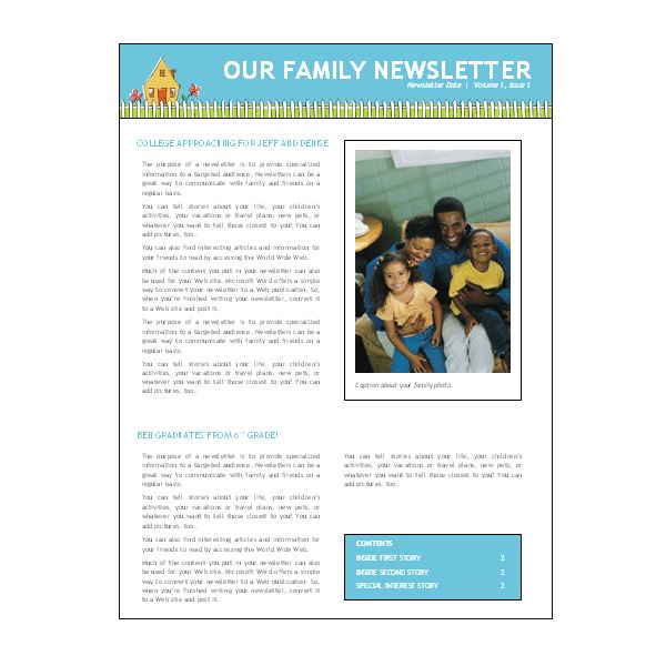 microsoft word newsletter templates