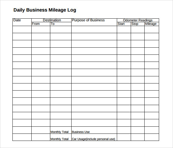 Mileage Log Template For Self Employed  ShatterlionInfo