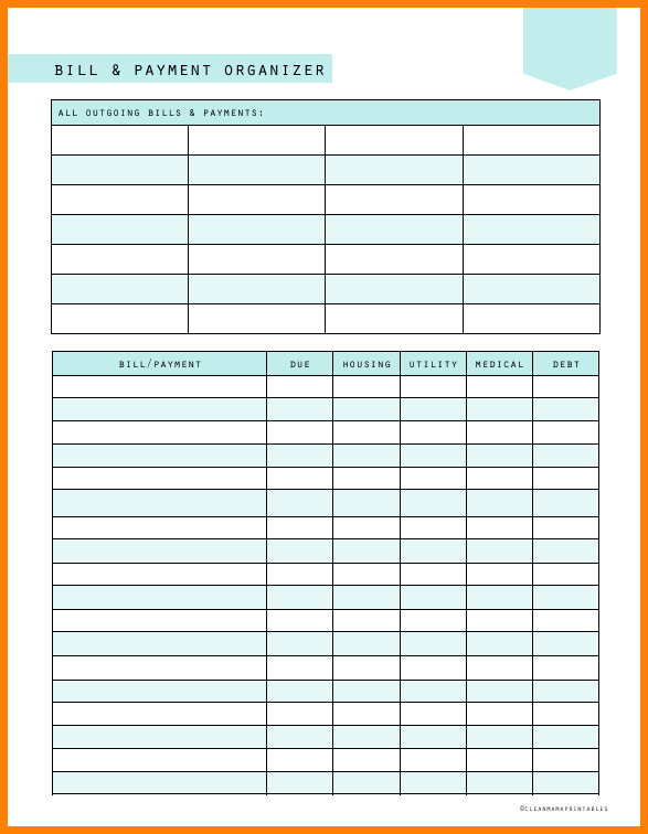 monthly bill organizer template excel. Black Bedroom Furniture Sets. Home Design Ideas