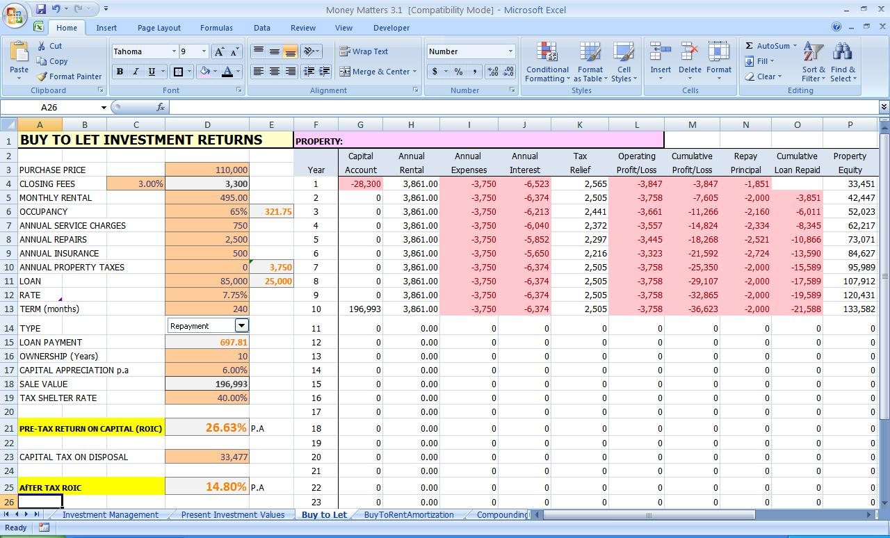 monthly expense excel sheet