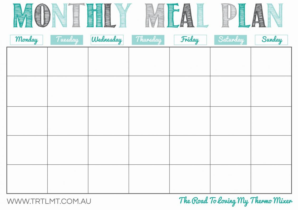 Monthly Meal Planner Template  Menu Planner Template Printable