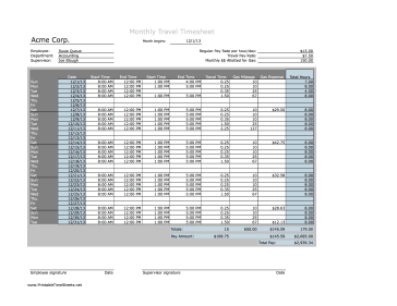 monthly timesheet template excel