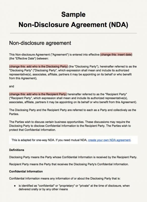nda agreement template word
