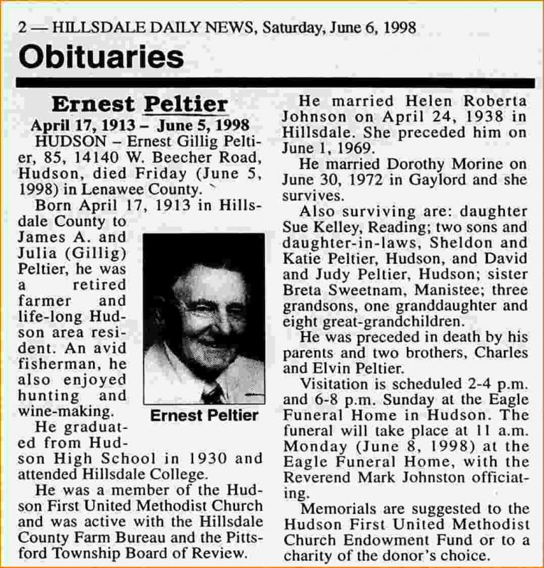 newspaper obituary template