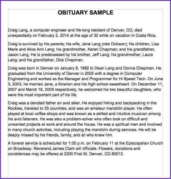 Newspaper Obituary Template | shatterlion.info