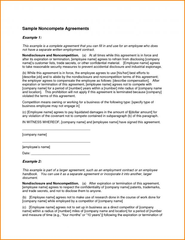 Non Compete Agreement Template  ShatterlionInfo