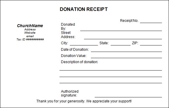 non profit donation receipt template