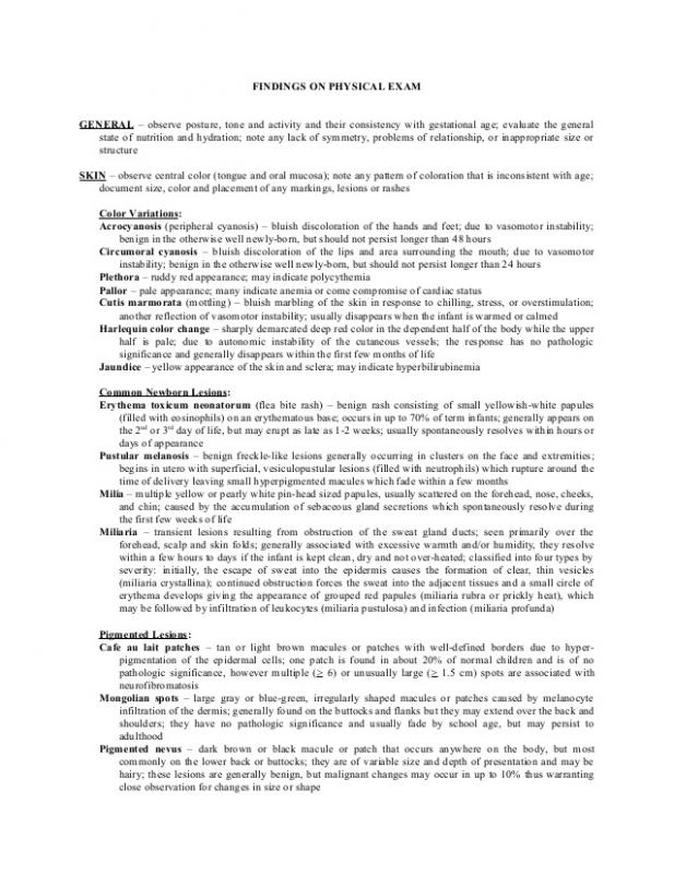 Normal Physical Exam Template Shatterlion Info