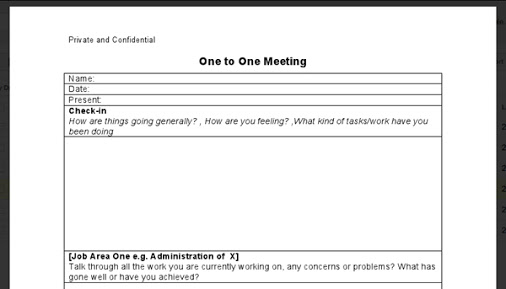 One On One Meeting Template | shatterlion.info