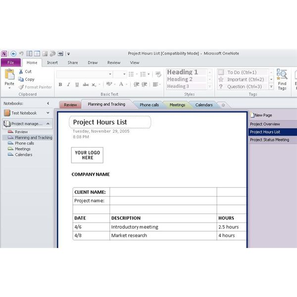 Onenote Project Management Template  ShatterlionInfo