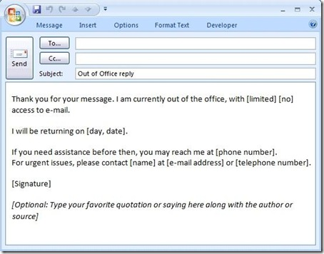out of office message template