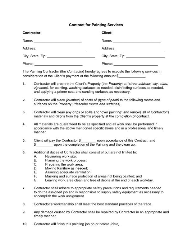 Painting contract template for Painting contract example