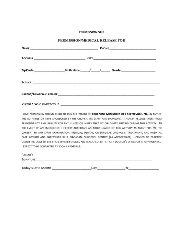 Permission Slip Template  Permission Slip Template Word