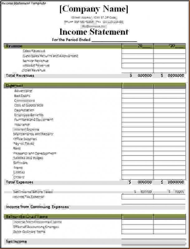 Private Income Statement Template  Income Report Template