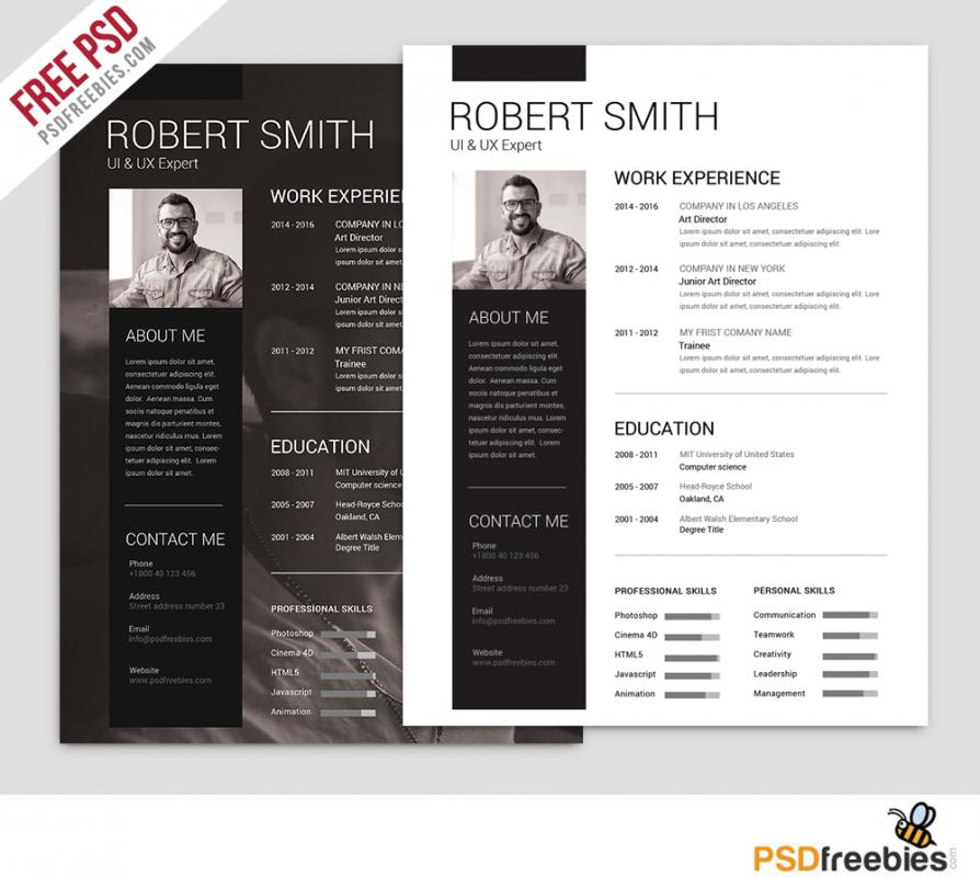photoshop resume template