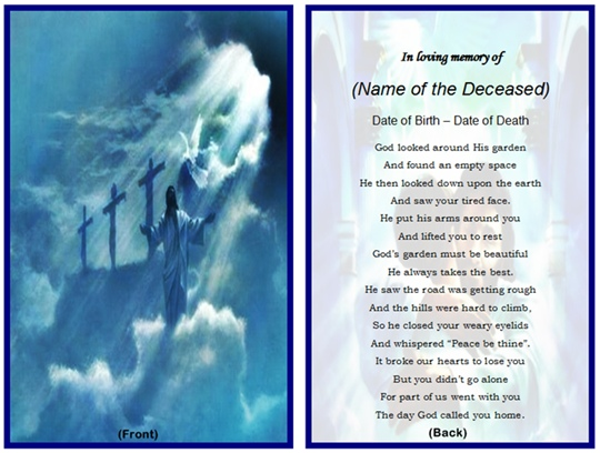 Prayer Card Template  Memorial Card Template Word