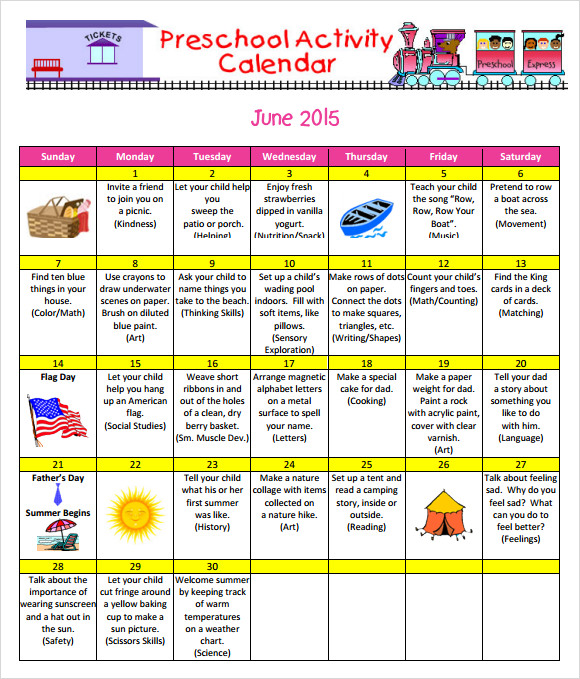 Calendar Preschool Crafts : Preschool calendar template shatterlion