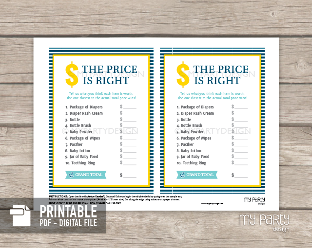 Price is right baby shower game template for Price is right bridal shower game template