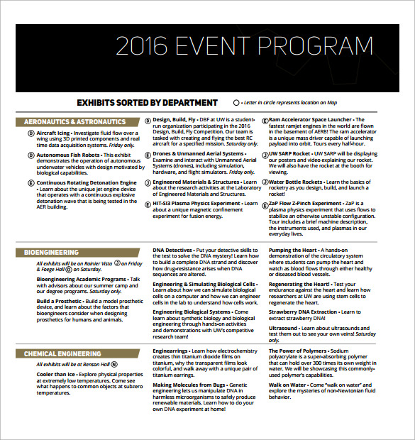 printable event program template
