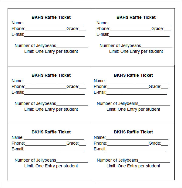 printable raffle ticket template