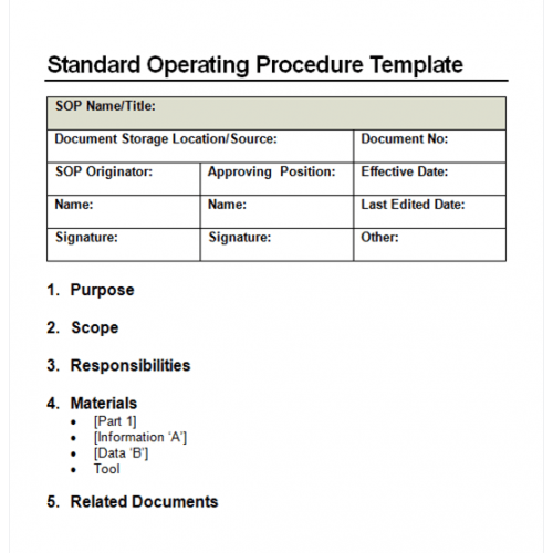Procedure document template for Sales sop template