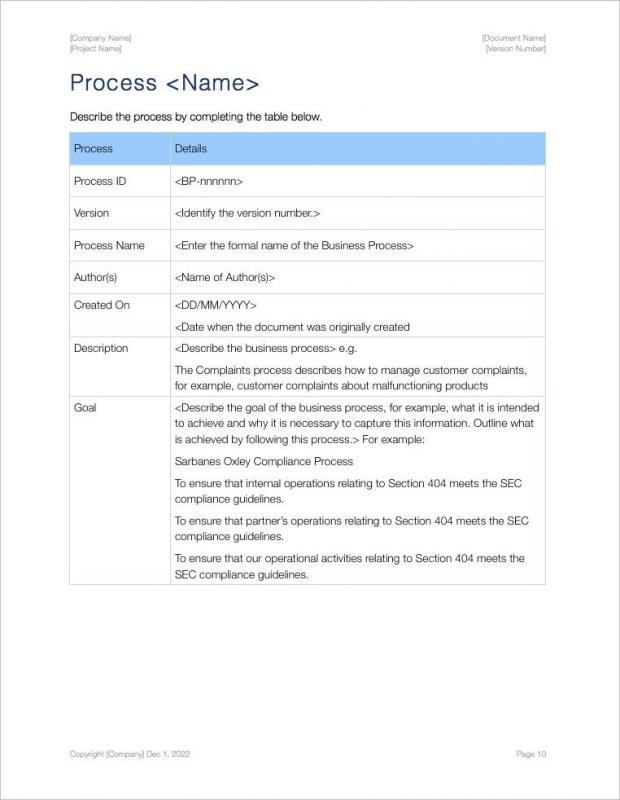 process document template
