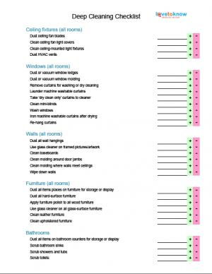 professional house cleaning checklist template