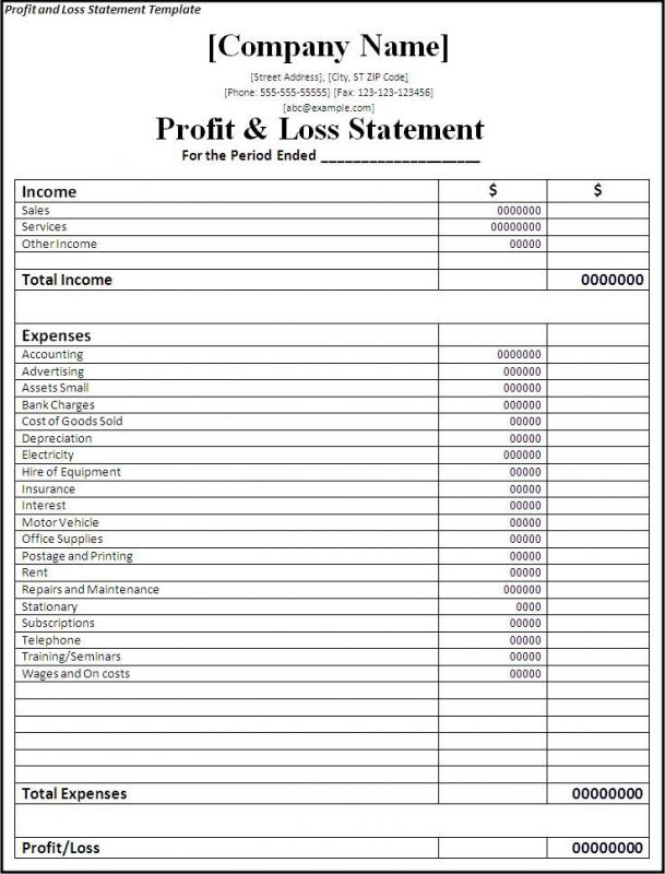 Profit And Loss Template Excel  Excel Profit And Loss Template