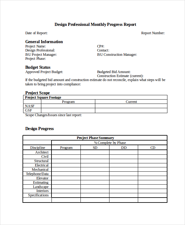 progress report template