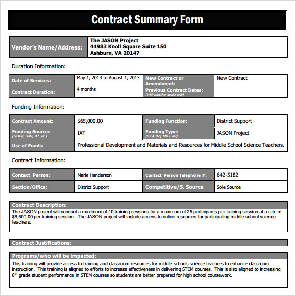 project executive summary template