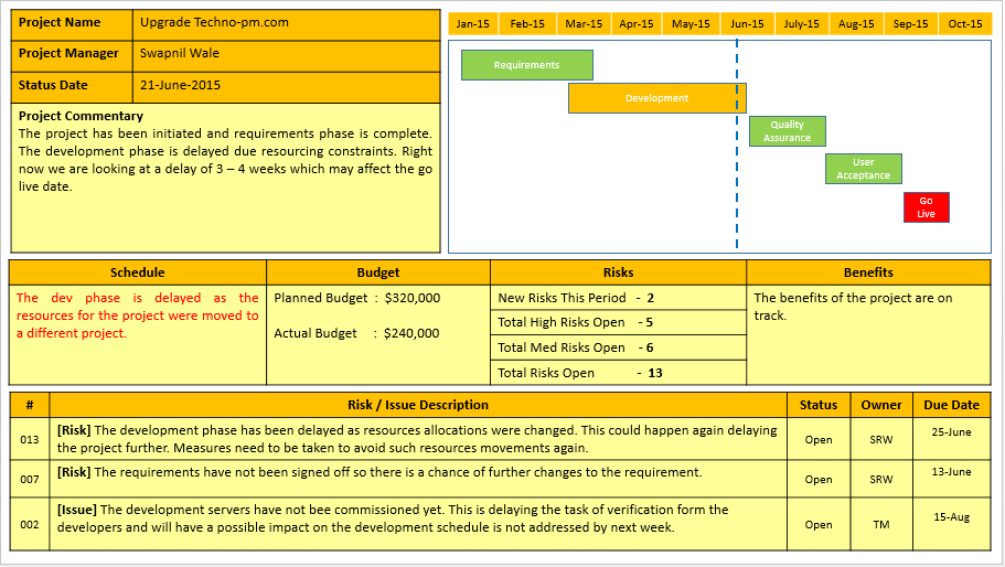 Project Management Status Report Template | shatterlion.info